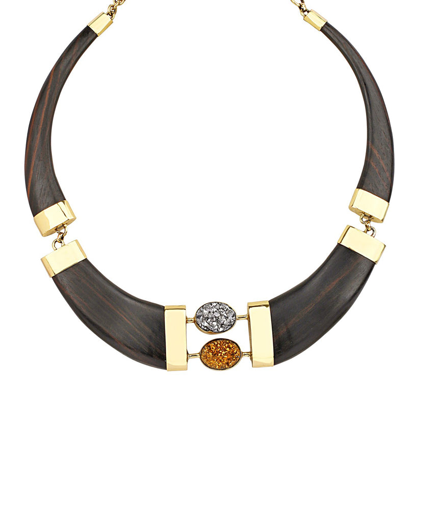 Black Ebony Wood Collar Link Necklace in 18K Gold and Agate Stone
