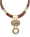 Safari Brown Ebony Wood Link Necklace in Agate Stone and 18K Gold