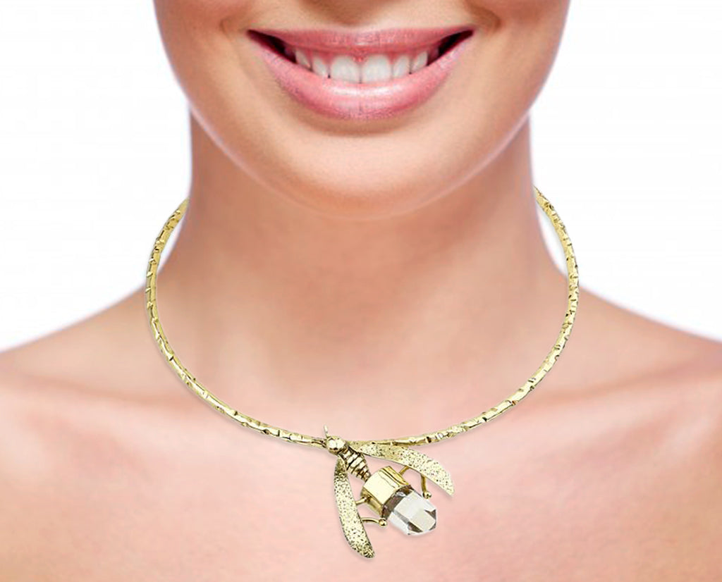 Bumble Bee Collar Necklace with Clear Quartz and 18K Gold