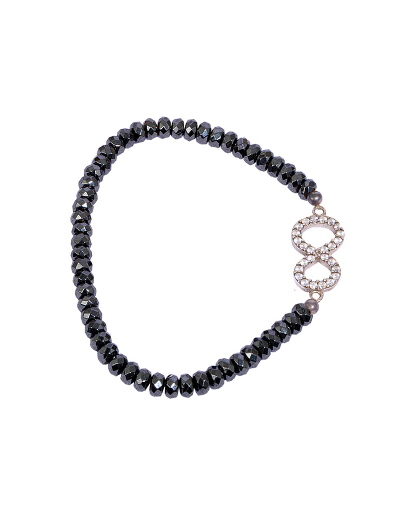 Numerology 8 Bracelet with 925 Sterling Silver with Hematite Beads and Swarovski Crystals
