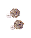Gold plated amethyst stone and crystals double sided earrings - BANSRI                                                                 Jewelry Lounge
