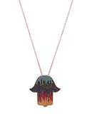 Rainbow Hamsa Necklace with Swarovski Crystals