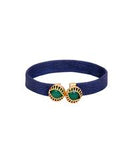 Dual Emerald in a Blue Leather Bracelet