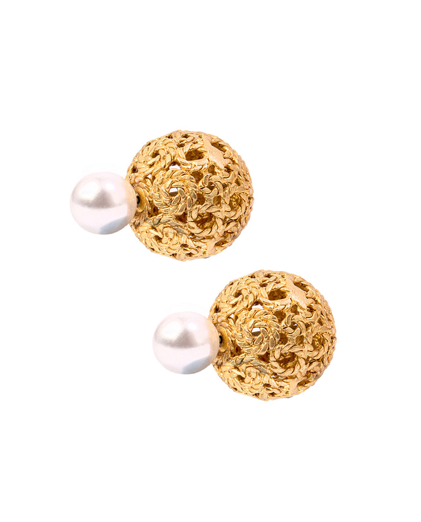 Gold plated pearl and changable stones double sided earrings - BANSRI                                                                 Jewelry Lounge