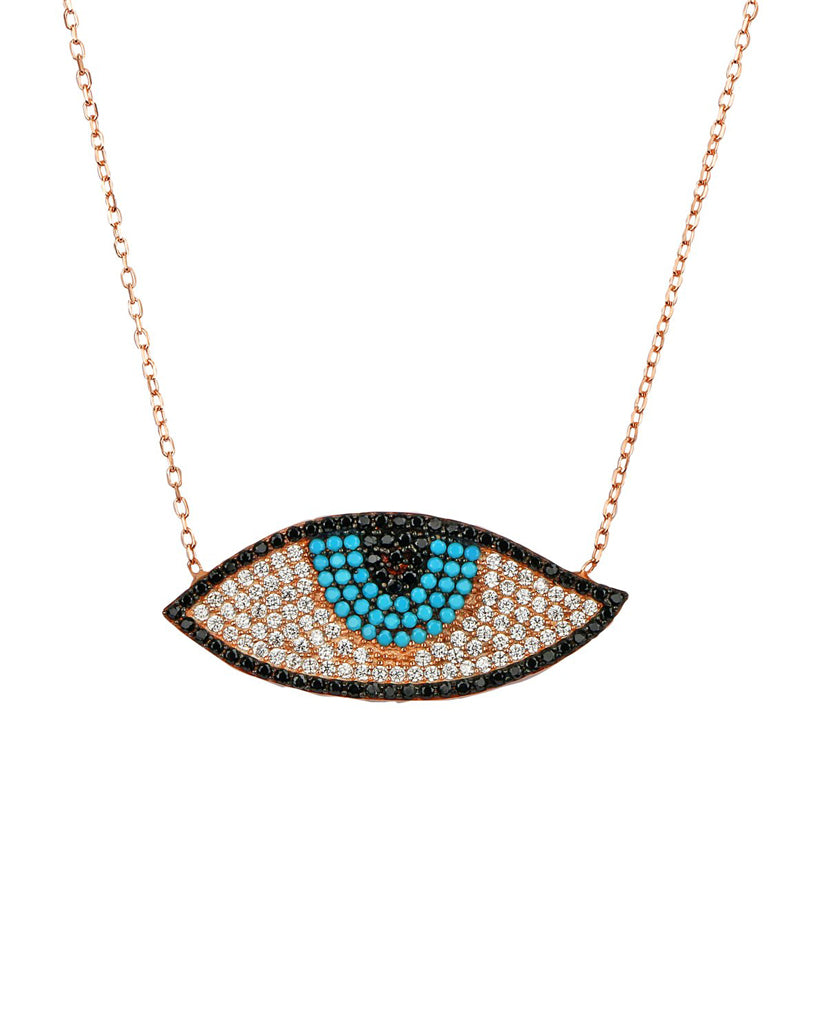 Large Evil Eye Necklace with Swarovski Crystals