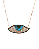 Sterling Silver Evil Eye Necklace with Swarovski Crystals