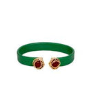 Dual Brown in a Emerald Leather Bracelet