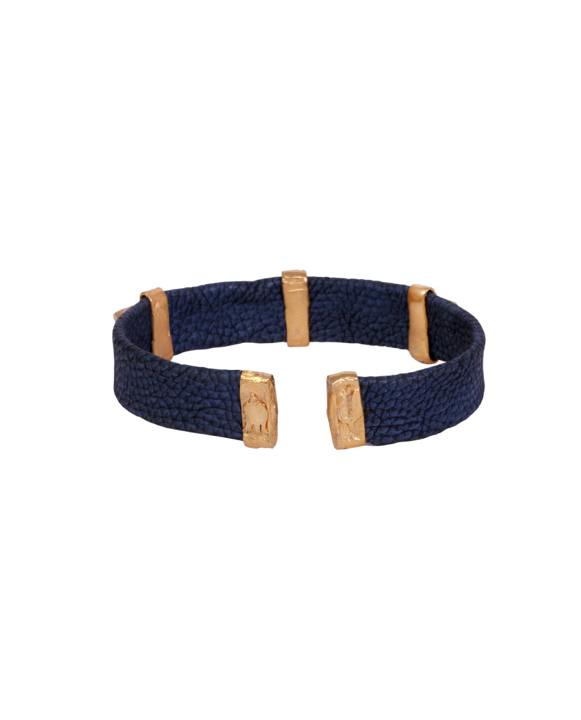 Navy and Gold Leather Spike Bracelet with Agate Stones