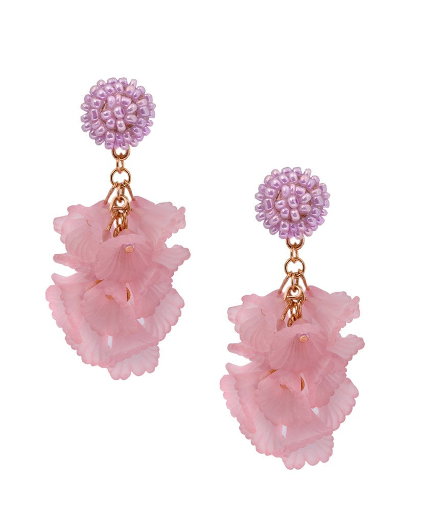 Flamingo Pink Flower Bouquet Cluster Earrings in 18K Gold