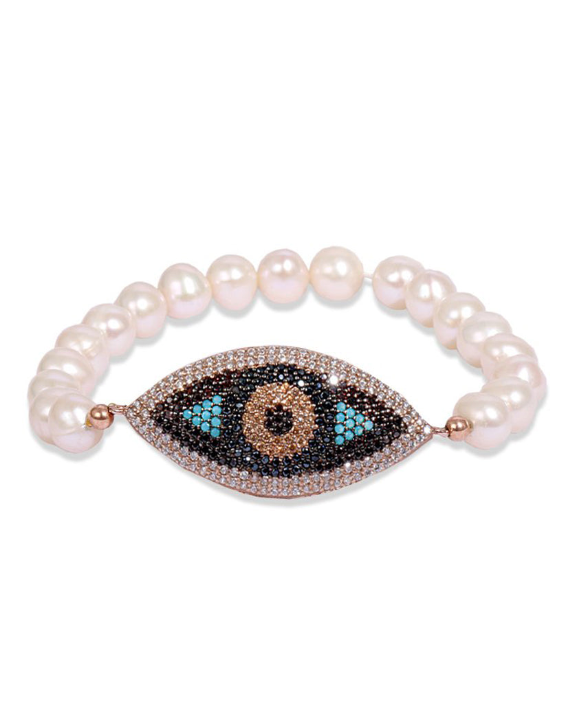 Gold Evil Eye Bracelet with Pearls and Swarovski Crystals