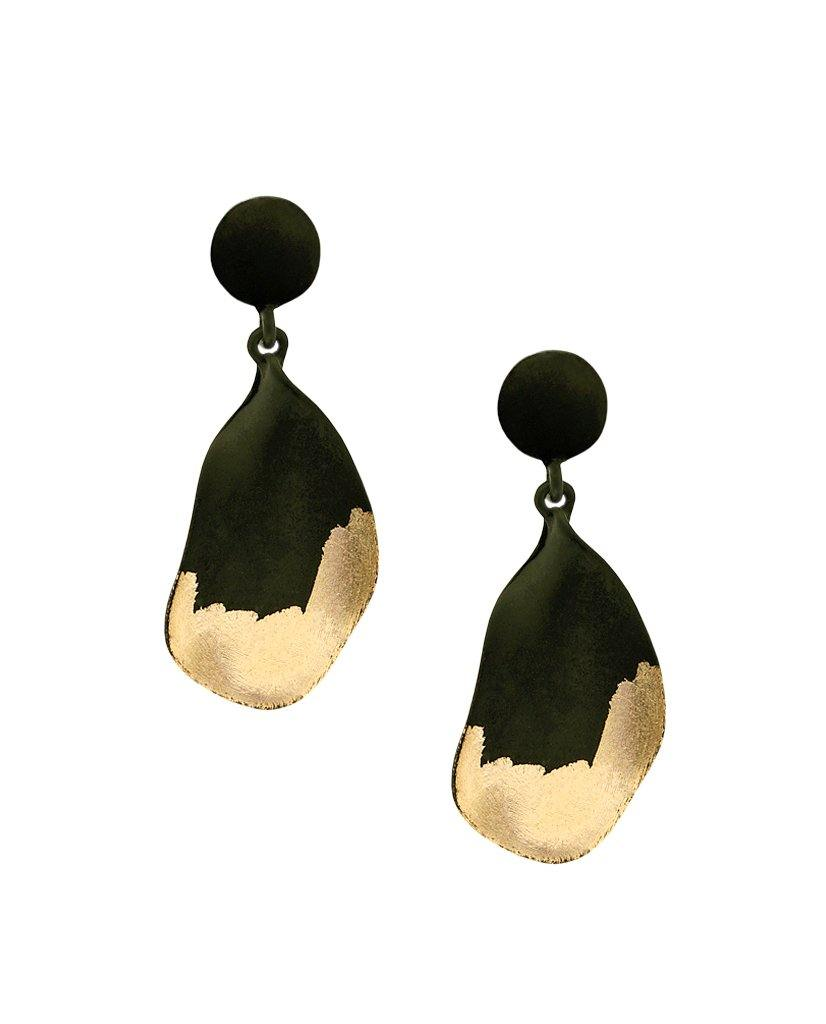Aiko Black Pear Drop Earrings with 18K Gold