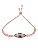 Rose Gold Evil Eye Adjustable Bracelet with Swarovski Crystals