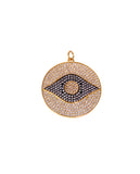 Round Evil Eye Pendant with Swarovski Crystals
