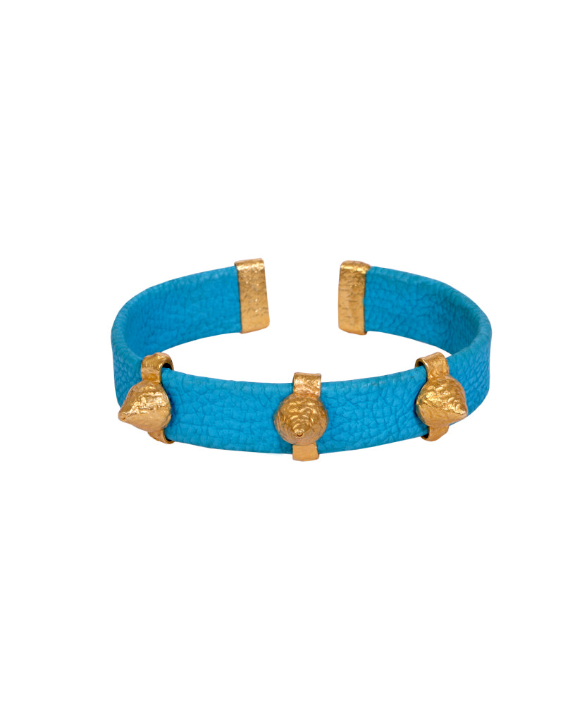 Blue and Gold Leather Spike Bracelet with Agate Stones