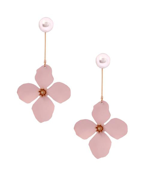 Pink Long Pearl Flower Dangler Earrings in 18K Gold