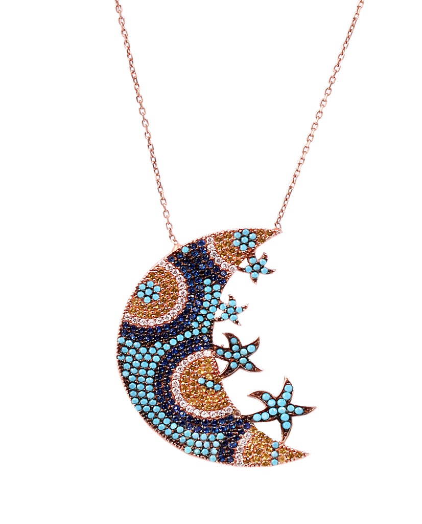 Large Moon Star Necklace with Swarovski Crystals