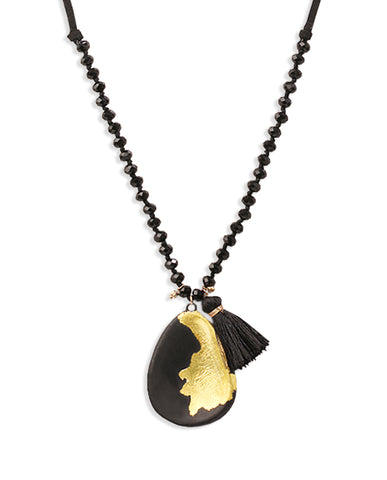 Kumiko Beaded Pear Drop and Tassel Black Necklace with 18K Gold