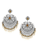 Traditional Rhodium and Pearl Chandbalis with Gold Swarovski Crystals