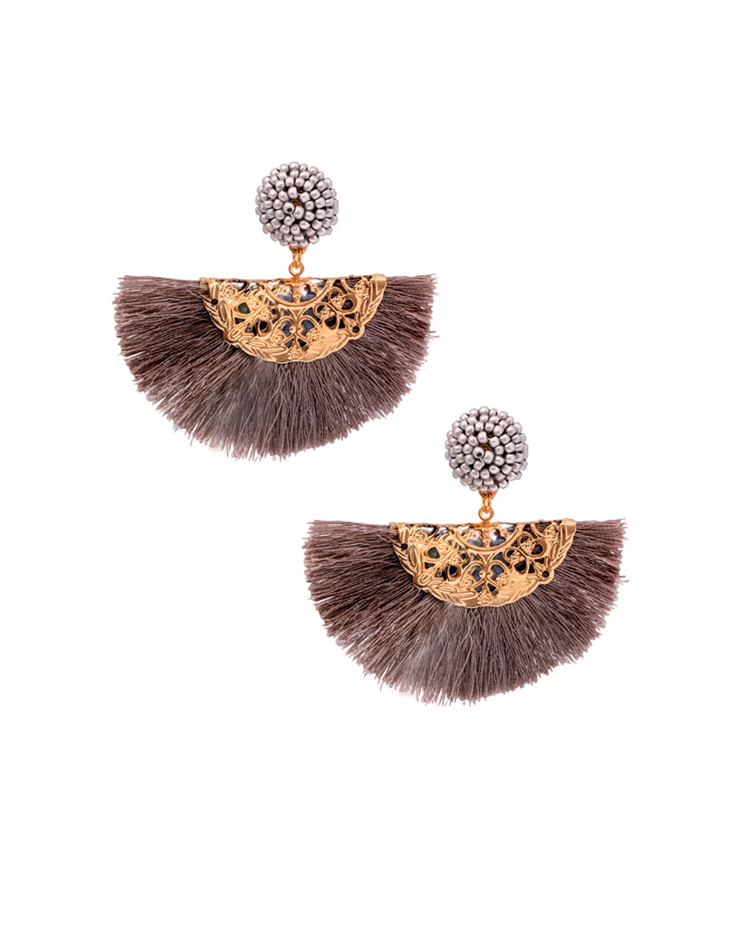 Dahlia Brown Tassel Fan Earrings in Beads and 18K Gold