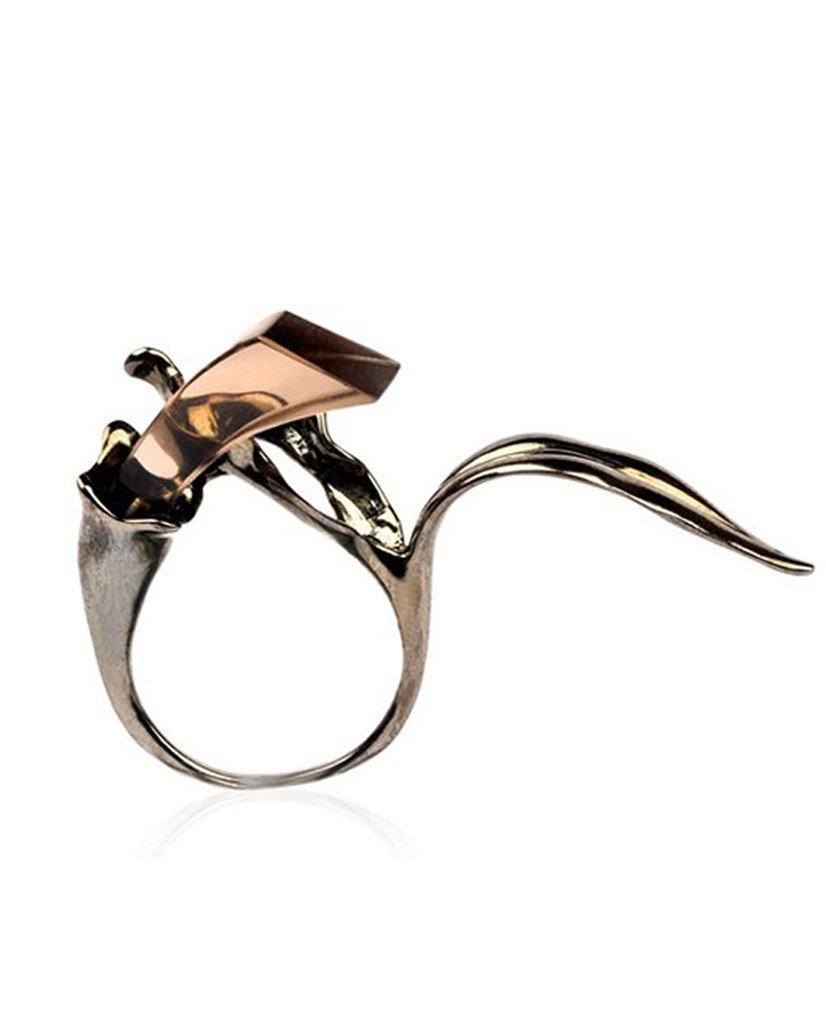 18K Ruthenium Floral Ring