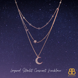 Layered Starlit Crescent Chain Necklace