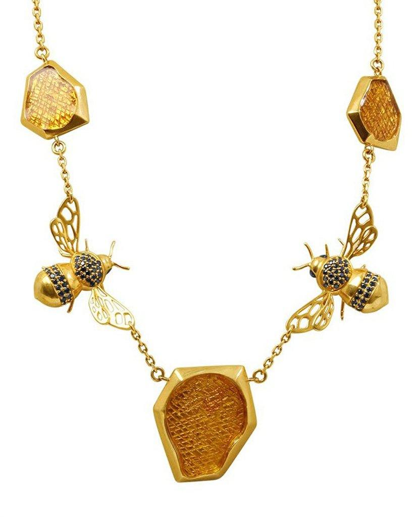 18K Gold Signature Luv U Honey Bee Statement Necklace