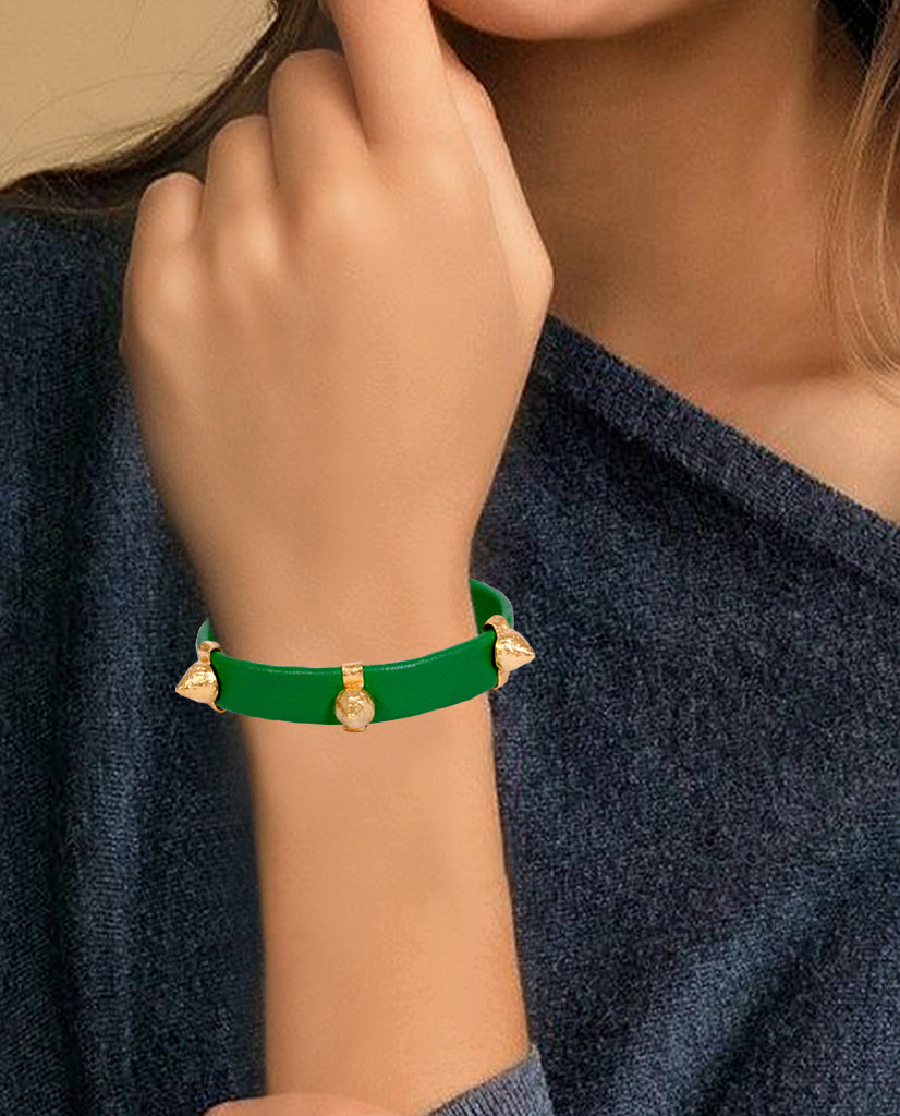 Emerald and Gold Leather Spike Bracelet with Agate Stones in hand