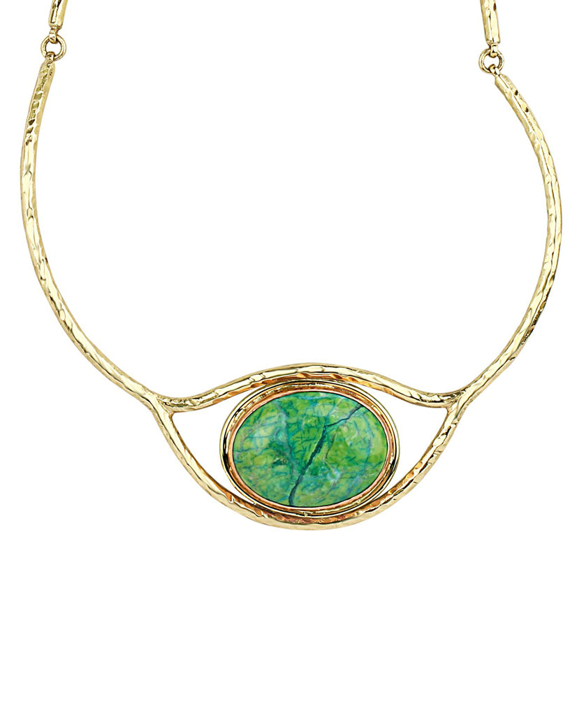 Coiled Eye Emerald Quartz Necklace in 18K Gold