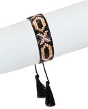 Black and Gold Beaded XOXO Bracelet in 18K Gold and Swarovski Crystals