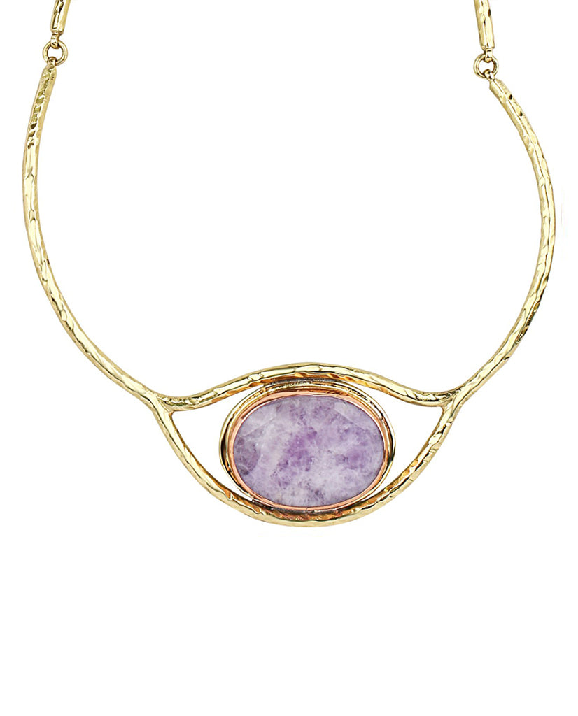 Coiled Eye Amethyst Quartz Necklace in 18K Gold