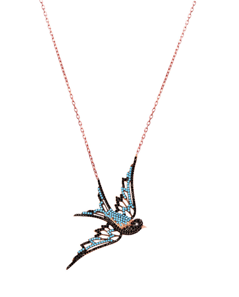 Blue Bird Necklace with Swarovski Crystals