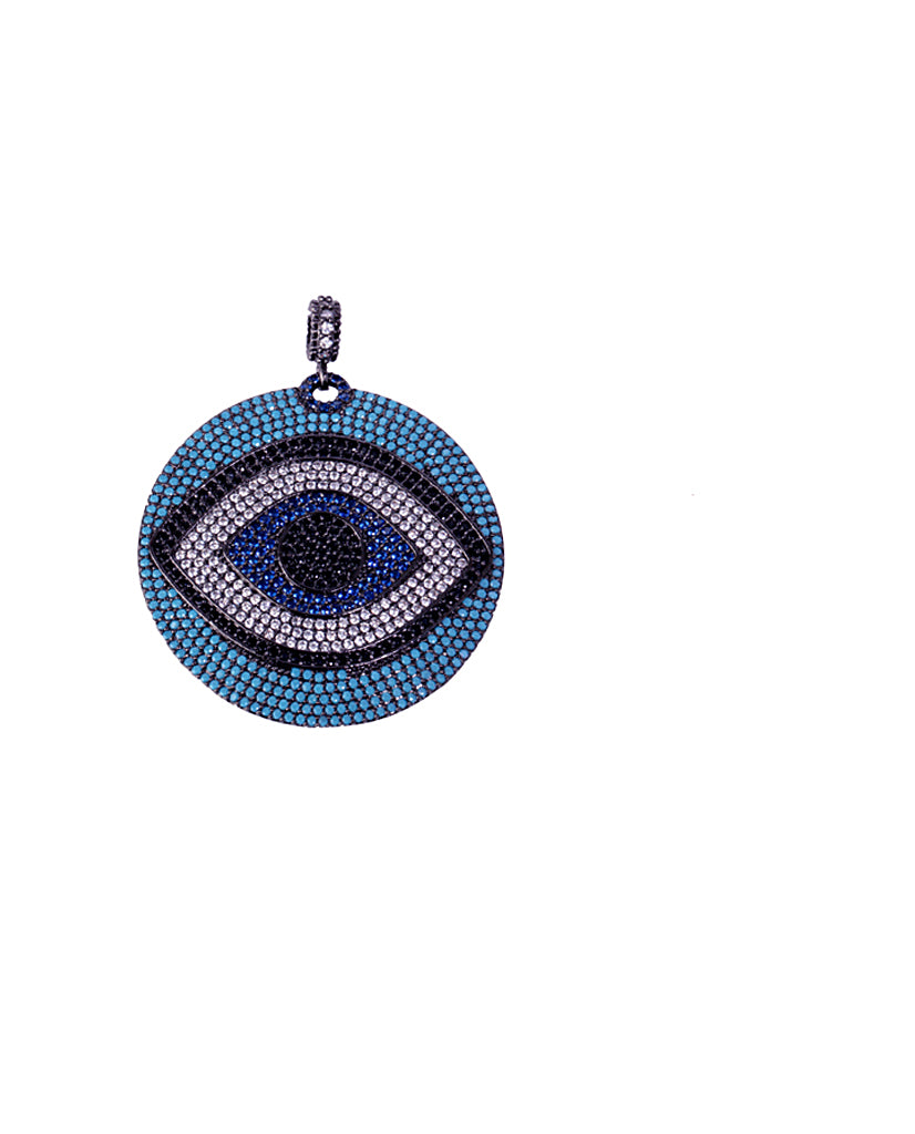 Black and Blue Evil Eye Round Pendant with Swarovski Crystals