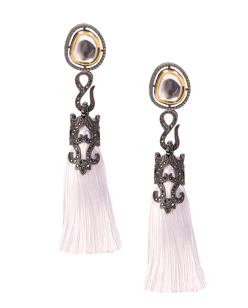 White Tasseled Short Dangling Earrings in 18K Gold and Hematite with Glass Kundan and Swarovski Crystals