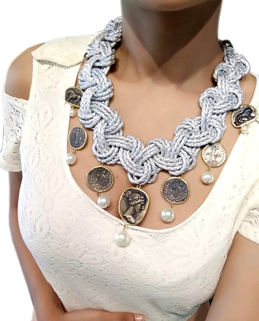 Silver Leather Vintage Coin & Pearl Necklace