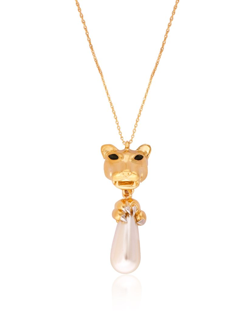 Panthera Head Pendant Necklace With Claw Pearl Drop