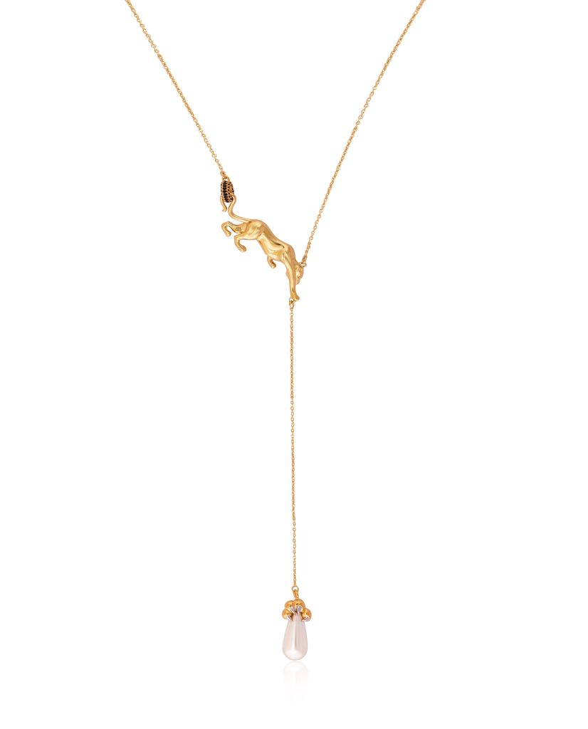 On The Prowl Panthera Pearl Lariat Drop Necklace