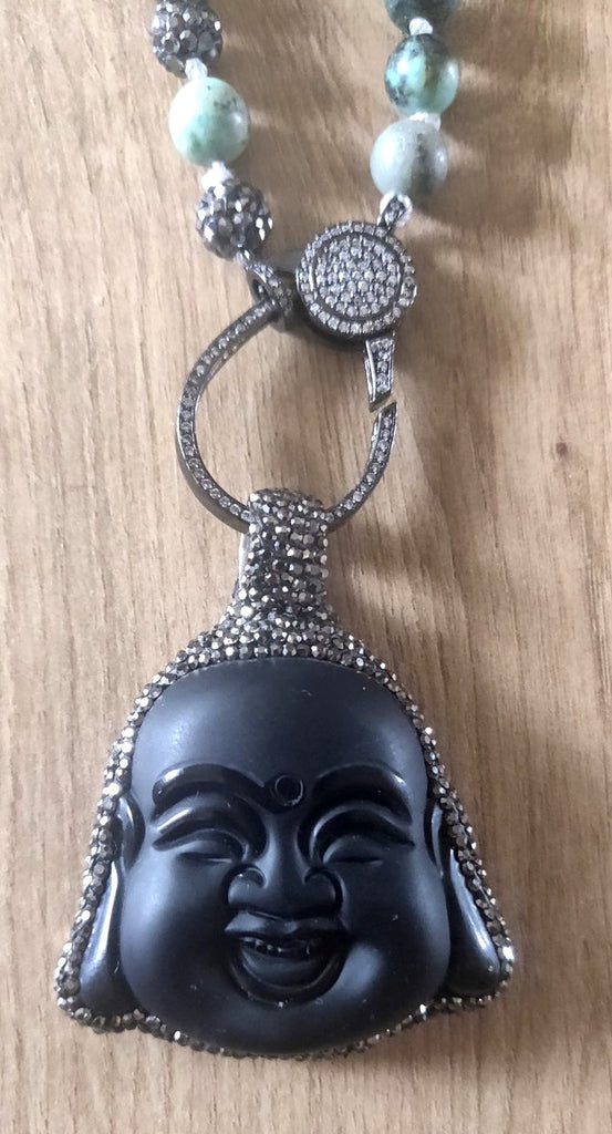 Wrap Around Hand Knotted Mala Necklace with Detachable Laughing Big Buddha Pendant