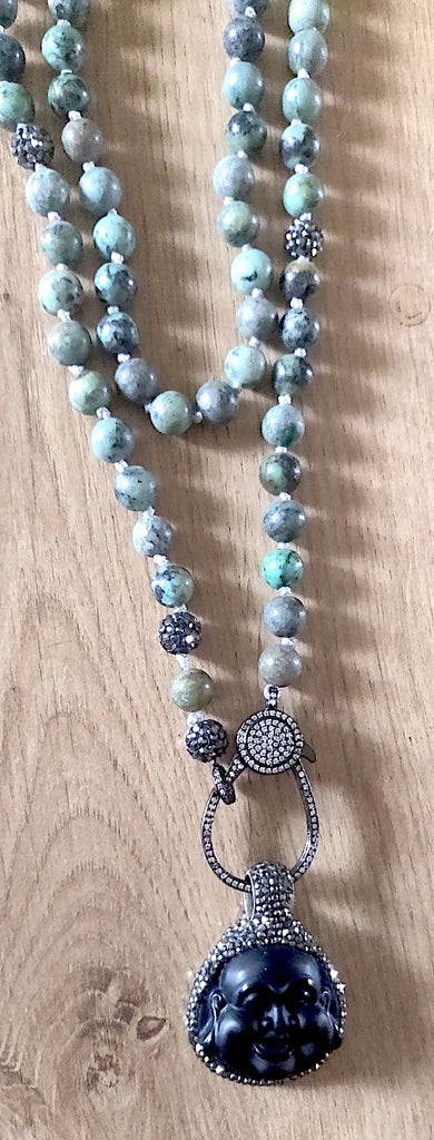 Wrap Around Hand Knotted Mala Necklace with Detachable Laughing Mini Buddha Pendant