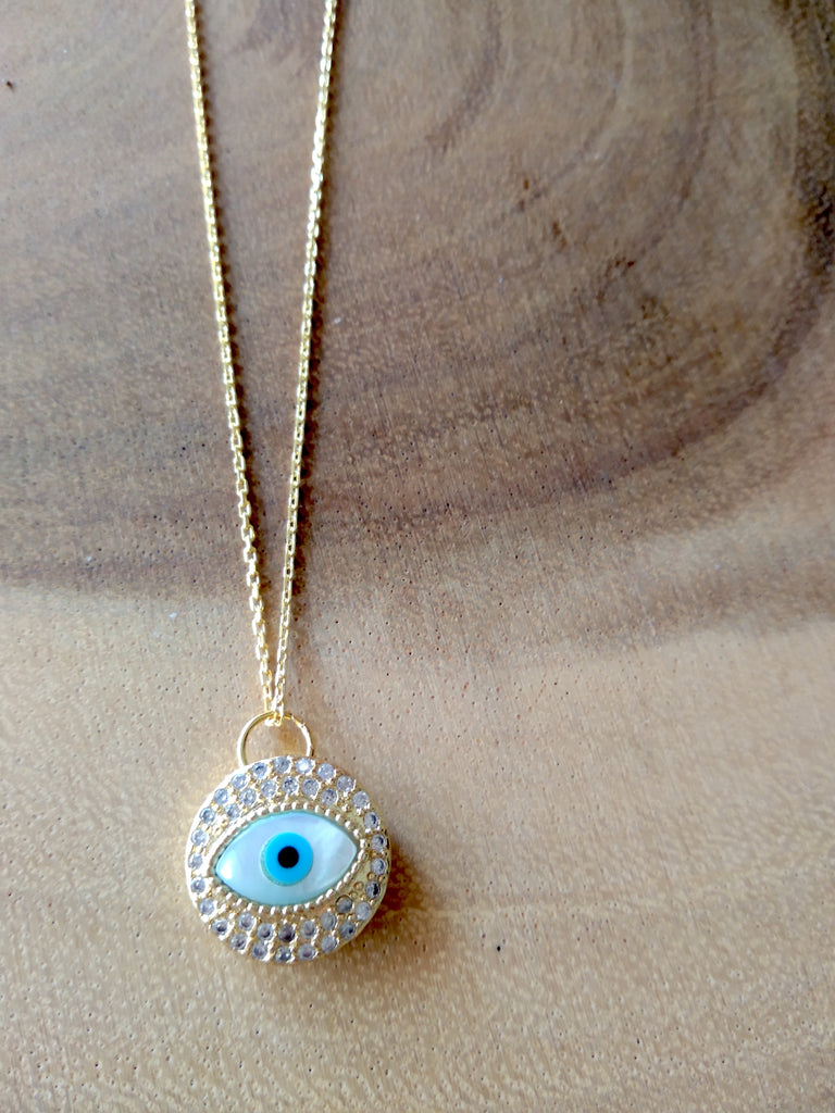 Mother of Pearl Crystal Medallion Evil Eye Necklace