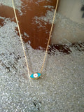 Reversible Two Toned Enamel Mini Evil Eye Necklace
