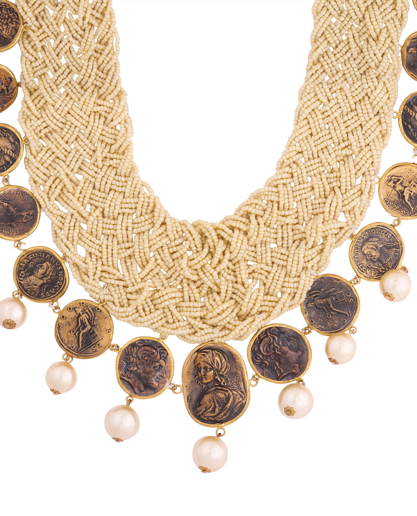 Pristine Pearl and Coin Necklace