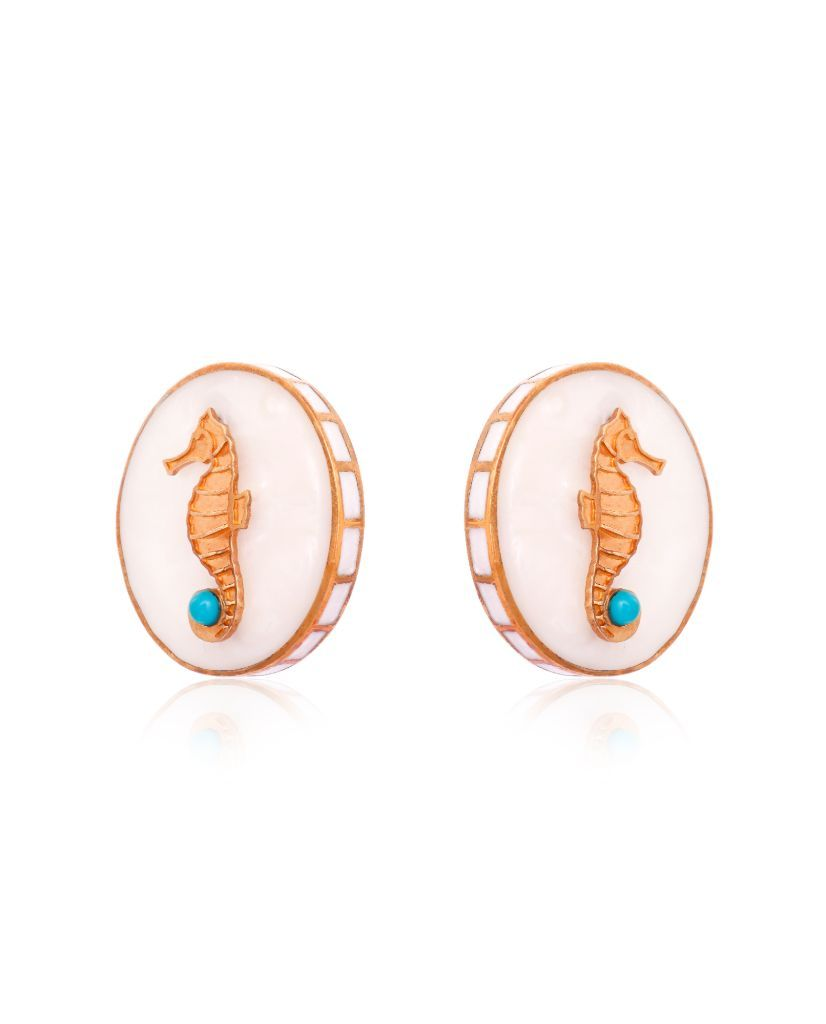 White CeCe Seahorse Medallion Earrings