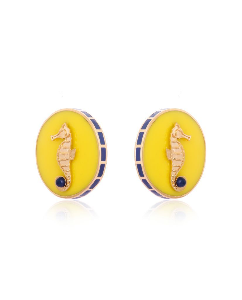 Poppy Yellow CeCe Seahorse Medallion Earrings