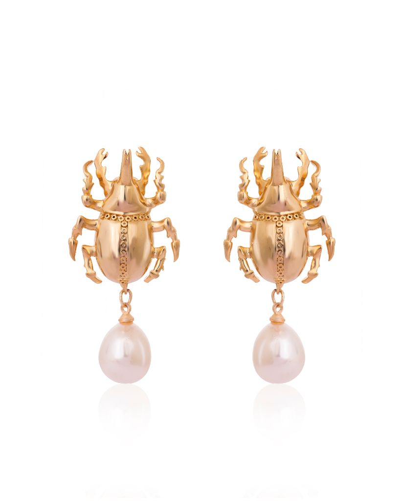 Scarab Pearl Drop Earrings