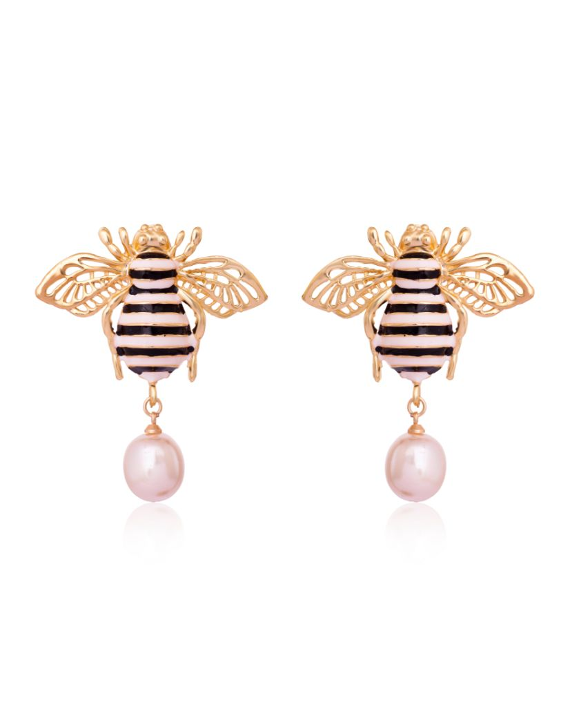 The BusyBee Pearl Drop Earrings