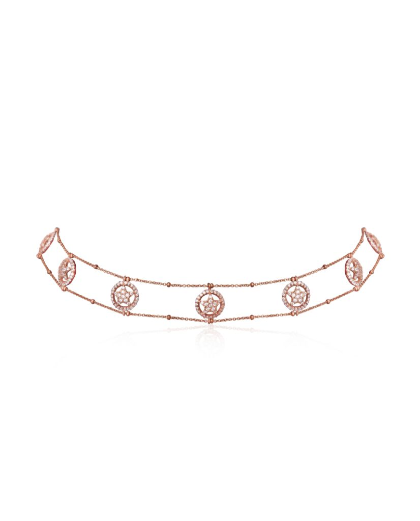 Floral Motif Crystal Encrusted Diamond Choker Necklace