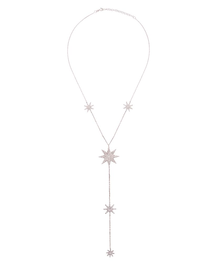 Celestial Dangling Chain Necklace with Swarovski Crystals