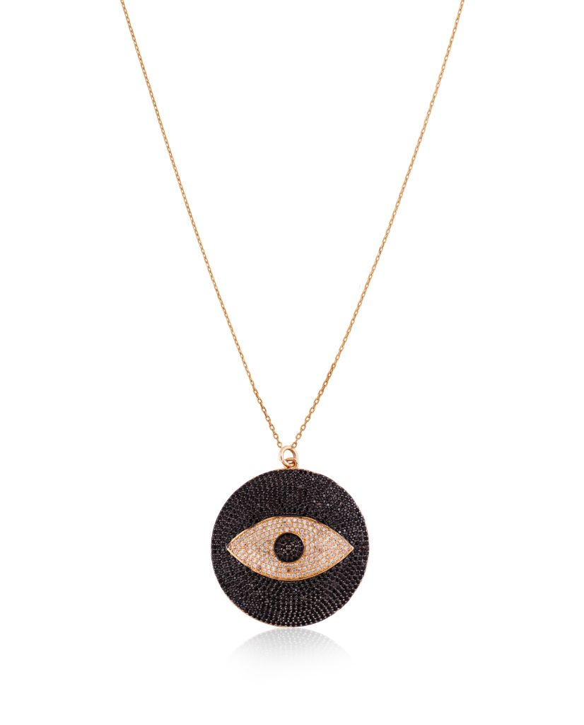 Large Black And Gold Evil Eye Round Pendant With Swarovski Crystals