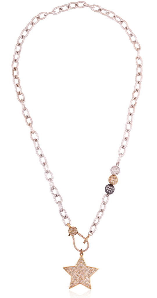 Link Chain Two Tone Toggle Clasp Necklace