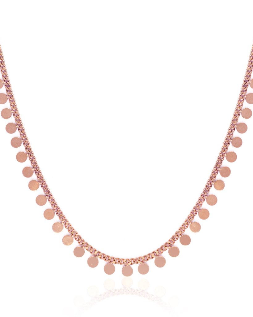Mini Disc Collar Chain Necklace - Rosegold